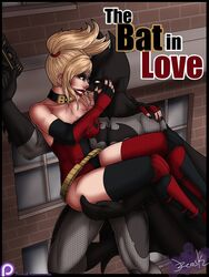 1boy 1girl bare_shoulders batman batman_(series) belt blonde blonde_hair bodysuit breasts bruce_wayne cape choker cleavage covered_breasts cowl dc dc_comics elbow_gloves female fingerless_gloves gauntlets gloves harley_quinn hips large_breasts legs legwear lips lipstick long_hair makeup male mask red_lips red_lipstick smile stockings tagme thighhighs thighs tied_hair twintails