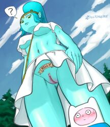 adventure_time breasts canyon_(adventure_time) cartoon_network embarrassed female finn_the_human giantess pussy size_difference tattoo underboob upskirt