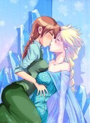 2girls anna_(frozen) big_breasts breast_press breasts cleavage elsa_(frozen) female french_kiss frozen_(movie) incest kissing melisaongmiqin nephythis-sorrow sisters yuri