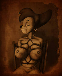 bondage bound breast_bondage breasts chair disney duct_tape earring female gagged goof_troop large_breasts monochrome nipples peg peg_pete rope sepia sitting solo tape tape_gag taped_mouth tied tied_up topless trzaraki vylfgor