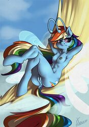 2017 alternate_species antennae anthro anthrofied anus areola ass atane27 breasts breezie cutie_mark female friendship_is_magic hair hi_res hooves insect_wings long_hair multicolored_hair my_little_pony nipples nude outside pussy rainbow_dash_(mlp) rainbow_hair solo wings