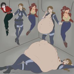 3girls ada_wong belly big_belly claire_redfield female jill_valentine resident_evil vore