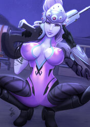 1girl blizzard_entertainment boots breasts female female_only gauntlets gloves gun holding_gun holding_weapon large_breasts long_hair looking_at_viewer nipple_bulge nipples overwatch parkdale ponytail purple_hair purple_lips purple_skin rifle shoes sniper_rifle solo spread_legs tagme tied_hair visor weapon widowmaker yellow_eyes