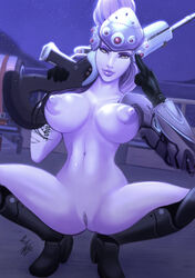 1girl blizzard_entertainment boots breasts female female_only gauntlets gloves gun holding_gun holding_weapon large_breasts long_hair looking_at_viewer nipples overwatch parkdale ponytail purple_hair purple_lips purple_skin pussy rifle shoes sniper_rifle solo spread_legs tagme tied_hair topless visor weapon widowmaker yellow_eyes