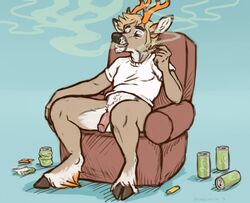2016 anthro antlers balls blue_background blue_eyes body_hair bottomless brown_fur can cervine chair chewycuticle clothed clothing daylo deer drugs flaccid fur happy_trail hooves horn humanoid_penis lighter male mammal marijuana penis pink_penis pubes shirt simple_background smoking solo t-shirt