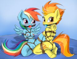 arms_behind_back ball_gag bondage bondage_harness bound breasts female female_only females femsub friendship_is_magic frogtie gag gagged gaggeddude32 gags multiple_females multiple_girls multiple_subs my_little_pony rainbow_dash_(mlp) rope spitfire