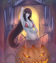 1girl 2016 adventure_time arm_above_head arm_up armpit bare_shoulders belly big_breasts black_hair bra breasts cartoon_network cemetery cleavage eyebrows eyelashes female female_only fingernails grey_skin halloween hips human jack-o'-lantern jeans large_breasts licking_lips lips long_hair looking_at_viewer marceline medium_breasts navel nose panties pointy_ears pumpkin red_eyes seductive slender_waist solo stomach thong underwear vampire very_long_hair xmakayx