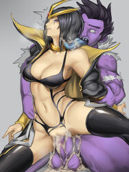 black_hair black_legwear breasts censored cleavage collar cum cum_in_pussy female forehead_jewel highres kumiko_(aleron) kumiko_shiba league_of_legends leblanc licking male monster navel popped_collar purple_eyes rape saliva sex short_hair simple_background thighhighs vaginal_penetration wide_hips