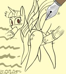 alicorn book cutie_mark darkfang42 drawing equine feathers female friendship_is_magic hair hi_res horn magic mammal my_little_pony paper penis solo twilight_sparkle_(mlp) wings