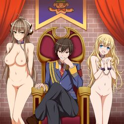 2girls absurdres aiguillette amagi_brilliant_park areolae arms_behind_back bondage bound breasts canine chains choker clothed_male_nude_female collar collarbone cuffs curtains femsub flat_chest grin hamihe head_tilt highres huge_breasts indoors kanie_seiya latifa_fleuranza leash legs_crossed male maledom multiple multiple_girls multiple_subs navel nipples nude pussy sento_isuzu sitting slave smile teeth throne uncensored wrist_cuffs