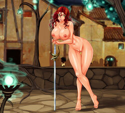 7th-heaven barefoot breasts city female green_eyes long_hair looking_at_viewer navel nipples nude original outdoors pussy rapier red_hair smile solo standing sword tiptoes weapon