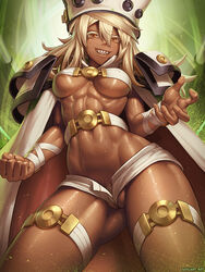 areola_slip blonde_hair cameltoe dark_skin female guilty_gear hat pubic_hair ramlethal_valentine sefuart smile solo speh standing sweat underboob