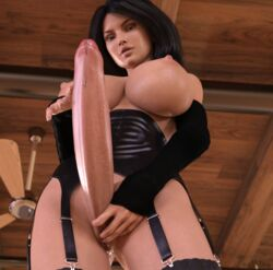 3d black_hair breasts corset dickgirl erection futa_solo futanari huge_cock intersex large_breasts long_hair nipples nothingmore penis precum pussy solo standing taker_pov