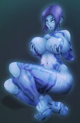 barefeet barefoot big_breasts blue_hair blue_skin breast_grab breast_squeeze breasts cortana covering_breasts curvy feet female halo halo_(series) hologram impracticalart large_breasts nude short_hair sitting solo toes