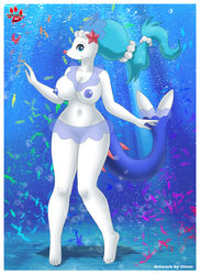 2017 ambiguous_gender anthro anthrofied areola big_breasts blue_eyes blue_hair blue_nipples blue_skin breasts clothed clothing english_text female feral fish group hair hi_res huge_breasts long_hair looking_at_viewer mammal marine navel nintendo nipples pawpads pink_nose pinniped pokémorph pokemon primarina pussy shinn signature smile solo_focus text topless translucent transparent_clothing uncensored underwater video_games water white_skin wide_hips
