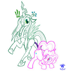 ! bigtyme blue_eyes changeling cutie_mark dildo equine female friendship_is_magic fur green_eyes horse mammal my_little_pony pink_fur pinkie_pie_(mlp) pony pussy queen_chrysalis_(mlp) sex_toy yuri
