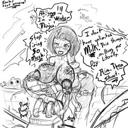 big_breasts blush breasts dialogue female huge_breasts jim_sugomi lactation lego milking monochrome ninjago nipples nya_(ninjago) onomatopoeia sketch