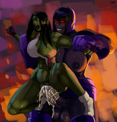ahe_gao aka6 areolae balls big_breasts breasts crossover cum cum_in_pussy cum_inside darkseid dc dickgirl erection female futa_on_female futanari huge_cock intersex large_breasts marvel nipples penetration penis sex she-hulk size_difference testicles vaginal_penetration