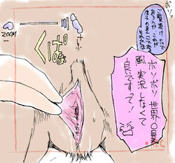 anthro anus bent_over camera close-up equine faceless_male female fingering horse japanese_text male mammal presenting pussy stretching_pussy tears text translation_request urine 牝馬