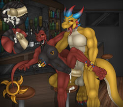 3_toes 4_fingers abs alcohol amber_(kurtassclear) amber_eyes anthro athletic balls bar bar_stool beverage biceps big_breasts big_dom_small_sub big_penis black_nipples black_pussy black_scales blue_claw blue_pupils bottle breast_grab breasts claws countershade_tail countershade_torso countershading cum cum_in_pussy cum_inside cutaway dragon duo dutcher erection eyebrows eyelashes facial_piercing fangs female glans glass hand_on_breast horn humanoid_penis inside internal kurtassclear larger_male leg_grab looking_at_partner looking_at_viewer looking_pleasured male male/female male_penetrating multicolored_scales navel navel_piercing nipple_piercing nipples nude on_one_leg open_mouth open_smile pecs penetration penis piercing pink_penis portrait pull_out pussy raised_leg red_claws red_scales red_tail reverse_countershading scales scalie sex shallow_penetration size_difference smaller_female smile standing three-quarter_portrait toe_claws toes tongue tongue_out tongue_piercing two_tone_scales two_tone_tail vaginal_penetration vaginal_penetration vein veiny_penis western_dragon white_nipples white_scales white_tail window yellow_scales yellow_sclera yellow_tail