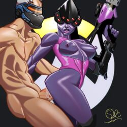 breasts cum cum_inside female from_behind headgear male nipples purple_skin sex solarconflict soldier_76 standing standing_sex widowmaker