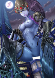 1girl armor blizzard_entertainment bodysuit breasts censor_bar censored costume exposed_breasts female female_only gauntlets gloves gun head_mounted_display highres long_hair looking_at_viewer medium_breasts navel nipples overwatch ponytail possible_duplicate power_armor purple_lips purple_skin redjet sniper sniper_rifle solo spread_legs tagme tied_hair visor weapon widowmaker yellow_eyes