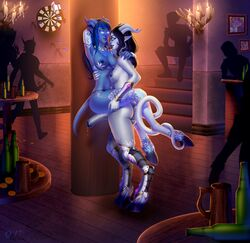 blue_skin breasts dickgirl draenei equine_penis futa_on_female futanari hooves horns horsecock intersex large_penis lingerie nipples pale_skin penis pointy_ears qoppa tail tavern thighhighs world_of_warcraft