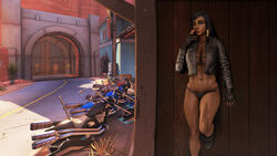 3d abs biker biker_clothes black_eyes black_hair boots breasts cigarette cleavage dark-skinned_female dark_skin detailed_background female female_only fingerless_gloves footwear gloves hair_ornament human large_breasts leaning_against_wall leather leather_boots leather_jacket looking_at_viewer motorcycle muscles muscular_female navel overwatch panties pharah pharah-best-girl route_66_(map) smoking solo source_filmmaker standing_on_one_leg toned