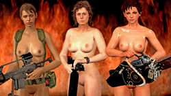 3d akikosdream alien_(franchise) crossover ellen_ripley juliet_starling lollipop_chainsaw metal_gear metal_gear_solid_v quiet_(metal_gear)