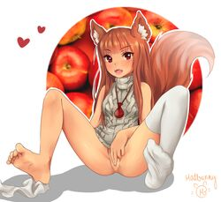 absurdres animal_ears apple bare_shoulders barefoot blush brown_hair erect_nipples fangs feet female fingering food fringe fruit hair_over_breasts highres holo jewelry long_hair looking_at_viewer madbunny meme_attire necklace no_panties no_shoes nude oerba_yun_fang pussy red_eyes red_hair single_sock sleeveless smile socks socks_removed soles solo spice_and_wolf sweater tail thighhighs toes tongue virgin_killer_outfit virgin_killer_sweater white_legwear wolf_ears wolf_tail