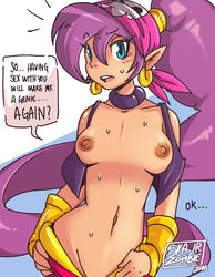 bandana blue_eyes breasts earrings english female navel nipples open_clothes open_mouth open_vest pointy_ears ponytail purple_hair shantae shantae_(character) skajrzombie skull_print solo sweat undressing vambraces very_long_hair vest