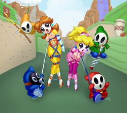 2girls ankle_cuffs arms_behind_back ayvuir_blue bondage breastless_clothes breasts breasts_outside captured collar cuffs female femsub fetish_gear gimp_suit latex leash mask multiple_boys multiple_girls multiple_subs nintendo open_mouth princess_daisy princess_peach shaxbert shy_guy super_mario_bros. tongue tongue_out video_game