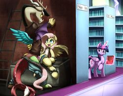 2017 alicorn antlers belt cum cum_in_pussy cum_inside cutie_mark discord_(mlp) draconequus equine feathered_wings feathers female feral fluttershy_(mlp) friendship_is_magic glowing group hair hi_res horn levitation library long_hair magic male male/female mammal my_little_pony open_mouth otakuap penetration penis pink_hair pussy sex spike_collar tongue vaginal_penetration vaginal_penetration wings yellow_sclera