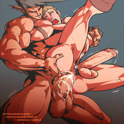2boys abs anal bara big_balls big_butt big_penis cockring cum_in_ass cum_inside cumdrip drake earrings gay hotcha male_focus male_only muscle nipple_tweak nipples original_character pecs yaoi