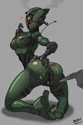 1girl 3_fingers absurdres anus armpits aroused ass assaultron blush breasts cum cyclops fallout feet female female_only gaping gaping_anus gaping_pussy grey_background half-closed_eyes heart highres machine muhut nude one_eye penis pussy red_eyes robot sex simple_background solo sweat