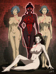 asami_sato avatar_the_last_airbender big_breasts bondage breasts chain chains collar corruption femdom femsub korra leash lezdom lin_bei_fong multiple_girls multiple_subs nipples nude possession pussy suyin_bei_fong the_legend_of_korra transformation trishbot vaatu yuri