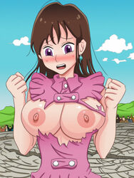 2015 5_fingers areolae blush breasts brown_hair cloud diane_(nanatsu_no_taizai) earrings erect_nipples eyebrows eyelashes female hair hands huge_breasts human long_hair nanatsu_no_taizai nipples open_mouth outdoors purple_eyes shablagooo shiny shiny_skin teeth tongue torn_clothes upper_body