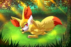 2017 absurd_res ass canine dipstick_tail fangs female fennekin feral forest fox fur grass half-closed_eyes hi_res humanoid_pussy inner_ear_fluff mammal multicolored_tail nightangeltdc_(artist) nintendo nude open_mouth outside pawpads pink_pawpads pokemon pussy raised_leg red_eyes red_fur smile solo tongue tongue_out tree video_games white_fur yellow_fur