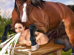 animal_genitalia animal_penis balls big_balls blue_eyes breasts brown_hair cock_transformation cum cum_from_mouth cum_in_mouth cum_inside cumshot duo ejaculation equine equine_penis female female_on_feral feral forced hair holding_breast horse huge_balls human larger_male lying male mammal medial_ring merging on_front orgasm penis rape size_difference straight titflaviy transformation vomiting_cum zoophilia