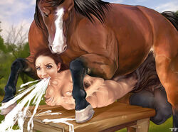 balls big_balls blue_eyes breasts brown_hair cock_transformation cum cum_from_mouth cum_in_mouth cum_inside cumshot duo ejaculation equine female female_on_feral feral forced hair holding_breast horse huge_balls human larger_male lying male mammal merging on_front orgasm rape size_difference straight titflaviy transformation vomiting_cum zoophilia