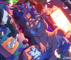 animal_ears bedroom bikini bikini_pull blue_bikini blue_eyes blue_hair breasts controller covered_nipples dualshock dutch_angle eureka_brider female game_controller gamepad heart heart-shaped_pupils large_breasts licking_lips long_hair looking_at_viewer lying naughty_face on_bed on_side original pulled_by_self side-tie_bikini skindentation solo spread_legs swimsuit symbol-shaped_pupils tail tissue_box tongue tongue_out underboob used_tissue wolf_ears wolf_girl wolf_tail you_gonna_get_raped