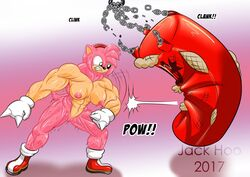 2017 abs amy_rose angry anthro biceps big_muscles boots breasts chains clothing dr._eggman female footwear fur gloves green_eyes invalid_tag jack_hoo_(artist) mostly_nude muscular muscular_female navel nipples pink_fur punch punching_bag pussy shoes solo sonic_(series) sweat teeth