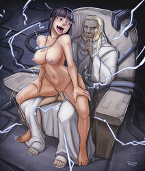 1boy black_hair blonde_hair blush breasts cowgirl_position dante_(fma) drooling electricity father_(fma) female fucked_silly fullmetal_alchemist large_breasts lyra navel necklace nude open_mouth pigutao sex sweat tears thighs throne tongue_out vaginal_penetration