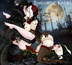 anal anal_sex babydoll bloodborne blue_eyes cunilingus doll fingering good_hunter group_sex hunter kissing lady_maria plain_doll spellcaster_knight threesome white_hair