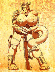 abs anthro biceps big_breasts bracelet breasts clothing feline female gideon gun huge_breasts hyper jewelry lion looking_at_viewer mammal muscular muscular_female nipples post-apocalyptic ranged_weapon simple_background solo weapon