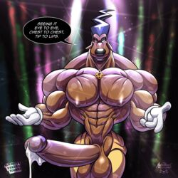 anthro balls big_muscles big_penis canine canine disney erection goof_troop gravity-falls-hunks humanoid_penis male mammal muscular penis powerline_(character) solo