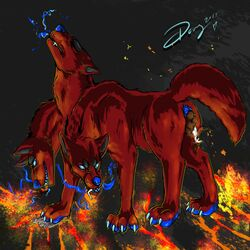 avian bird blue_skin canine canine cerberus claws crush demon doves evil_grin feces fire full_tour fur hell hellhound lava macro mammal micro micro_on_macro multi_head oral_vore pawpads pigeon pinned raised_tail red_fur scat scat size_difference smile vore