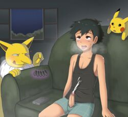 1boy ahe_gao ambiguous_gender black_hair clothed couch cum ejaculation erection furry heavy_breathing hypno hypnosis male_focus nintendo open_mouth orgasm penis penis_out pikachu pokemon satoshi_(pokemon) sitting smile tongue window
