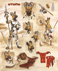 african_wild_dog animal_genitalia anus ass canine clothed clothing ear_piercing jewelry loincloth male mammal melee_weapon model_sheet musical_instrument necklace nude outside partially_clothed penis piercing polearm scale_(artist) sheath solo spear testicles tribal utunu weapon