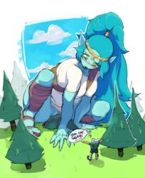 adventure_time blue_hair blue_skin canyon_(adventure_time) female finn_the_human giant giantess pussy tagme